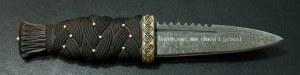 SG910 - Sgian Dubh in Rosewood, Brass and Damascus with diamond engraving