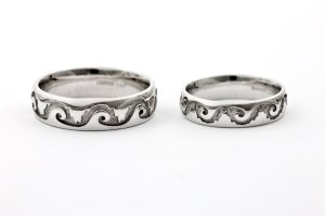 Custom Made 'Water & Mountains' White Gold Wedding Rings