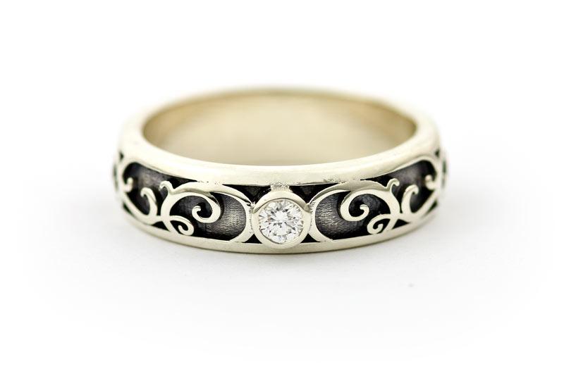 bespoke white gold and diamond engagement ring - Elvish Wedding Rings