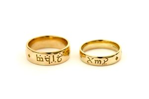 Bespoke Gold Wedding Rings with Personal Inscription in Elvish