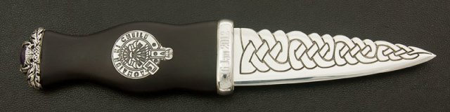 Sgian Dubh with a Sterling Silver blade and clan crest set in an Ebony handle with Tayside Amethyst pommel