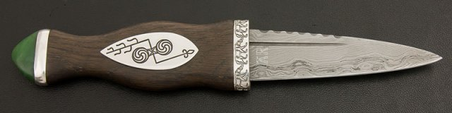 Pictish Sgian Dubh with bog oak, silver and Damascus
