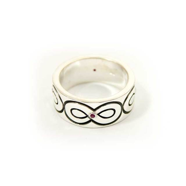Infinity Sterling Silver Custom Made Ring with Rubies