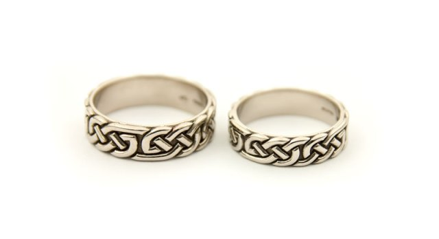 White Gold Celtic Wedding Rings