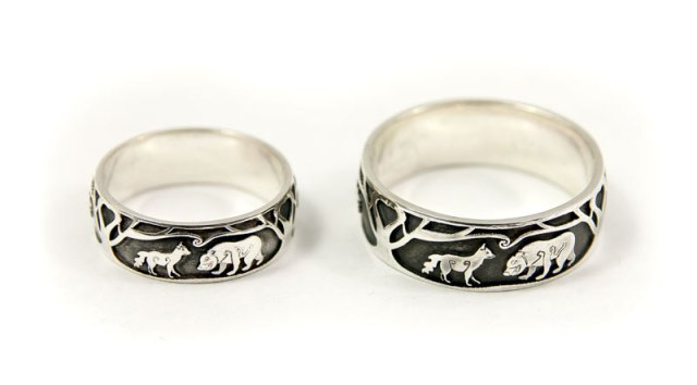 Fox and Bear Wedding Rings