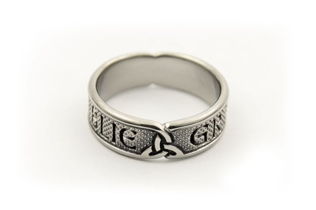 Titanium Wedding Ring with Clan Name and Motto