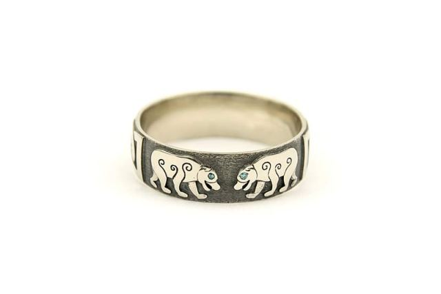 Pictish Bears with Blue Diamond Eyes Bespoke Wedding Ring