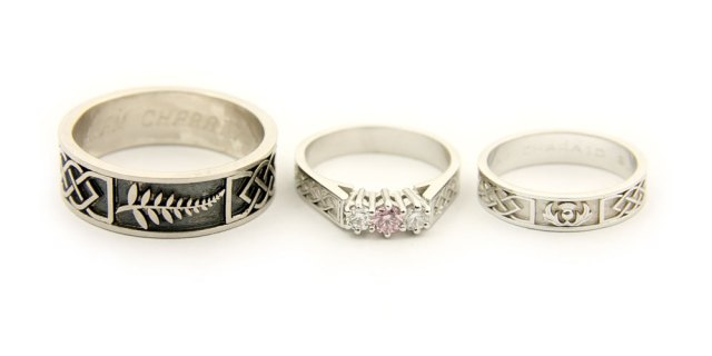 Bespoke Engagement and Wedding Rings in White Gold and Palladium, with Pink and White Diamonds