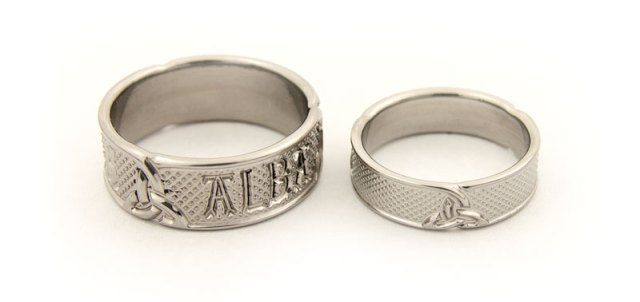 Bespoke Titanium Wedding Bands with Celtic Design and Scottish Gaelic
