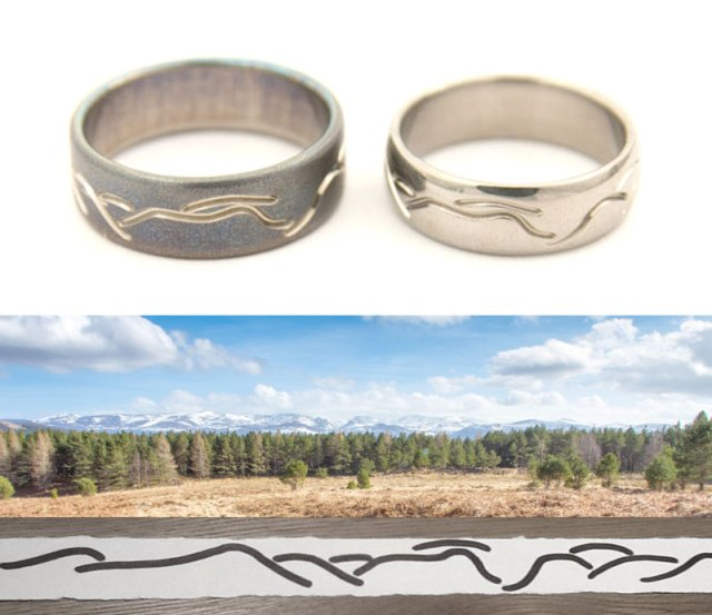 Unique Cairngorms Mountains Wedding Rings in Titanium