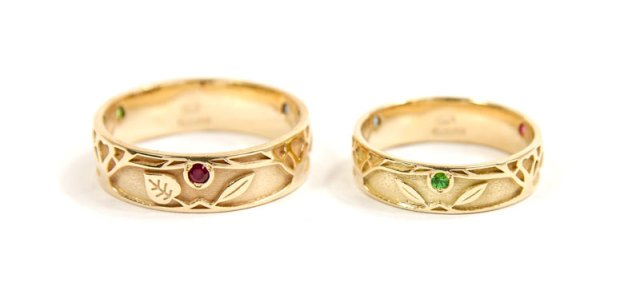Tree of Life Wedding Rings in 18ct Gold with Aquamarine, Green Garnet and Ruby.