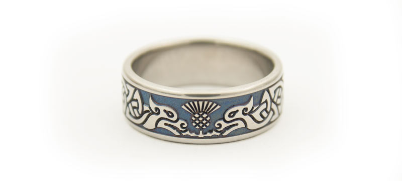 Titanium Celtic Hounds Scottish Thistle Wedding Ring Whats New