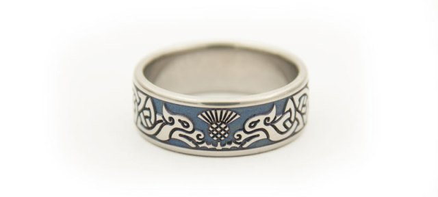 Titanium Celtic Hound & Scottish Thistle Wedding Ring