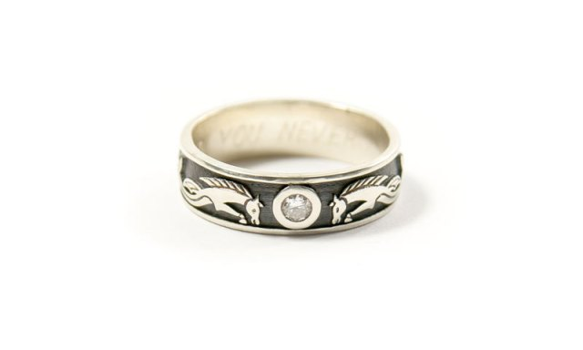 Pictish Kelpies and Diamond in White Gold Ring