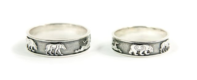 Wedding Rings Featuring Pictish Wolves, Bears and Stags