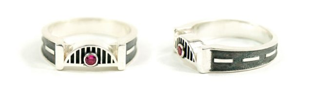 Tyne Bridge / Road of Life Ruby Wedding Anniversary Ring