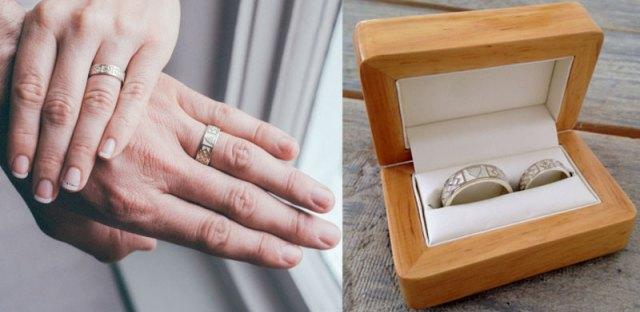Irish Shamrock and Cornish Shield Bespoke White Gold Wedding Rings
