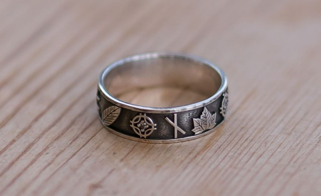 Bespoke Ring Featuring Ogham and Leaves
