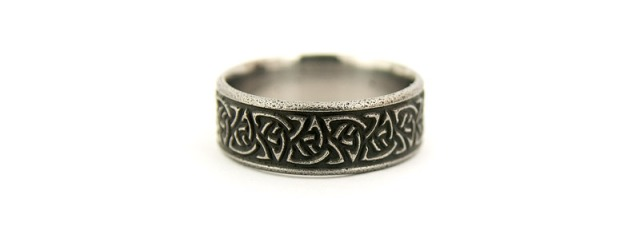 Wrought Iron Celtic Ring Made in Aerospace Grade Titanium