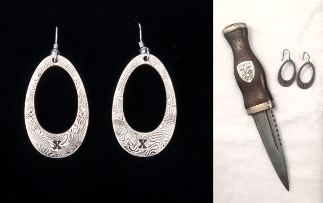 Damascus Earrings and Sgian Dubh