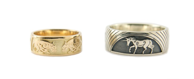 Rainbow, Celtic Hounds and Unicorn Rings