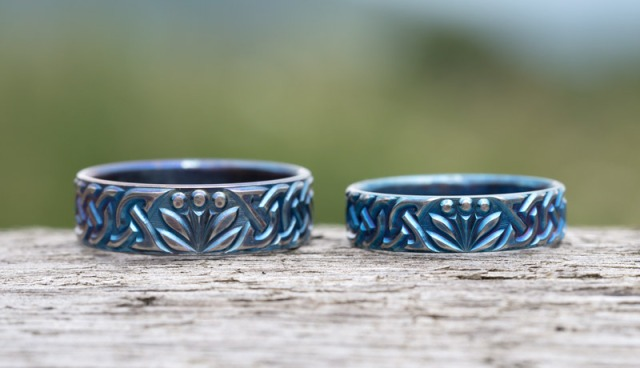 Unique Titanium Wedding Rings with Flower and Celtic Knotwork