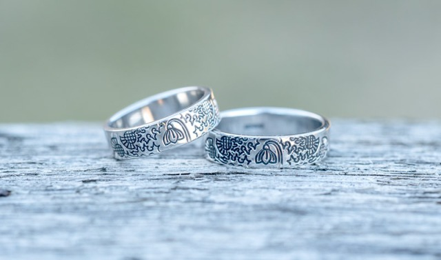 Bespoke Platinum Wedding Rings With Snowdrop and Thistle Design