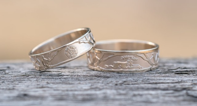 Bespoke Gold Wedding Rings with Unique Moose, Rose and Maple Leaf Design