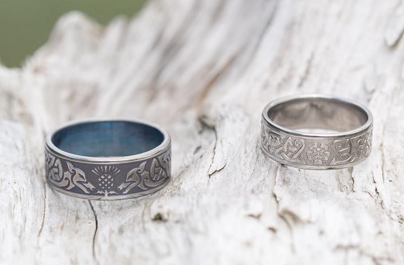 Thistle and Rose Titanium Wedding Rings