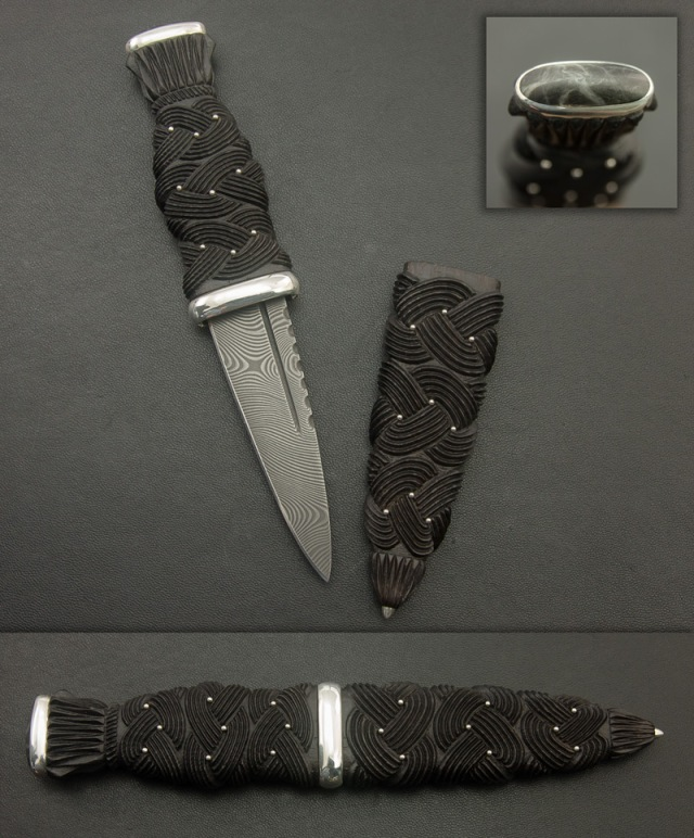 Bog Oak Sgian Dubh with Angus Black Marble and Stainless Steel Damascus
