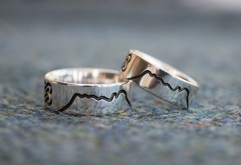 Mountain Wedding Rings in Argentium Silver