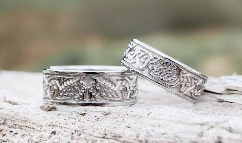 Viking Dragon Wedding Rings in Titanium