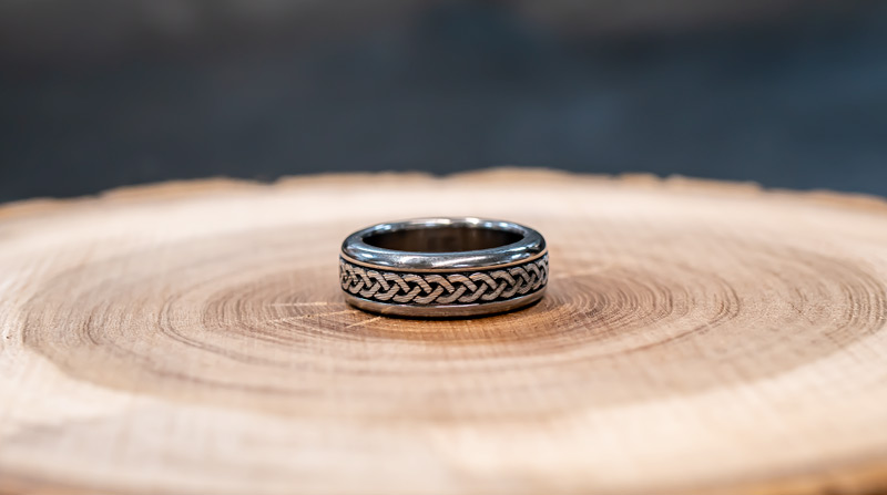 Titanium and Stainless Damascus Steel Celtic Knotwork Ring